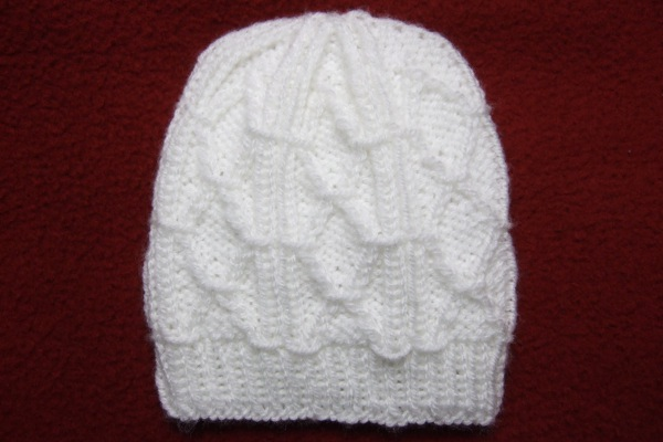 Knitting Patterns For Beanies With Straight Needles : Diamond Trellis Baby Hat for Straight Needles - Baby ...