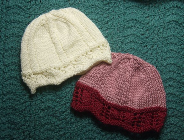 Laced Edged Chemo Caps for Straight Needles - Charity Clothing Knitted My Pat...