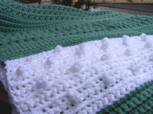 Crocheted Textured Reversible Lap Blanket Afghans Charity